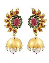 Gehnamart Yellow Gold Plated Pearl and Peridot Jhumki Earring