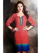 Cotton Jacquard Print Red Stitched Frock Style Kurti - 29221 - M