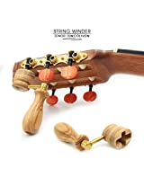 TSWCO TENOR Professional Wooden Handmade Guitar String Winder for Classical, Flamenco, Acoustic or Electric Guitar Players. Olive Wood. State of the Art!