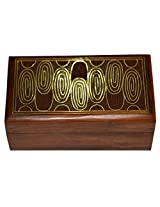Handmade Jewellery Box Rectangular Shape Wood Carving with Abstract Brass Inlay Design