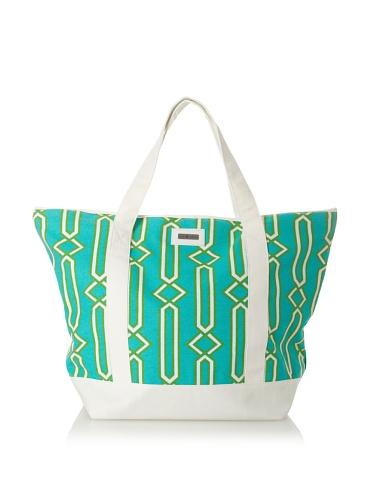 Julie Brown Medium Tote Bag with Cooler Lining (Green Jenjule/Polka Dot)