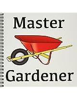 3dRose db_123089_1 Master Gardener Gardening Wheelbarrow Drawing Book, 8 by 8-Inch