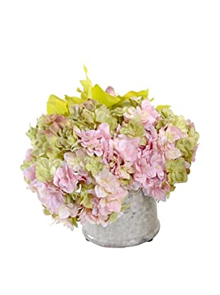 New Growth Designs Hydrangea & Orchid Arrangement in Clay Jar (Pink/Green)