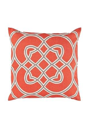 Surya Geometric Throw Pillow (Poppy/Gray/Beige)