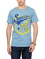 Yepme Men's Blue Graphic Cotton T-shirt -YPMTEES0539_L