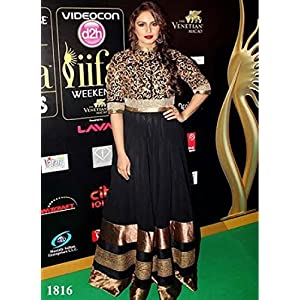 Indian Bollywood Latest Replica Huma Qureshi Black Velvet Gown