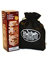 "Large Wooden Tower Deluxe Stacking Game With Exclusive ""Mattys Toy Stop"" Storage Bag"