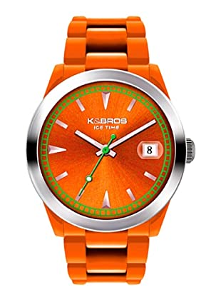 K&BROS 9539-8 / Reloj Unisex con correa de caucho Naranja