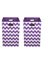 Modern Littles Organization Bundle Laundry Bins, Color Pop Purple Chevron, 2 Count