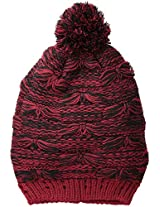 San Diego Hat Company Women's Oversize Drop Stitch Beanie Hat with Pom Pom, Garnet, One Size