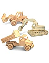 Puzzled Bulldozer, Excavator And Dump Truck Wooden 3 D Puzzle Construction Kit