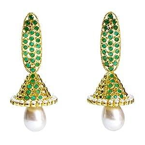 Daamak Jewellery Green Beaded Earrings With Pearl Drop