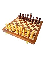 "StonKraft 16"" x 16"" Collectible Wooden Folding Chess Game Board Set+Wooden Line carved Pieces (Delivery < 7 Days)"
