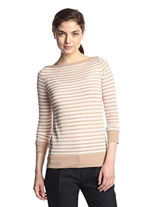 M.Patmos Women's Pointelle Stripe Boatneck Sweater (Camel/White)