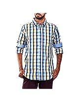 Urban Polo Club Blue Multicolored Shirt Medium- Full Sleeve