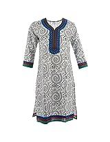 Handicraft Kottage Women's Cotton Blue Long Sleeve Kurti