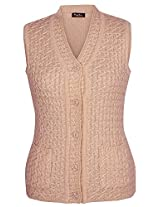 Mystic Women's Wool Cardigans ( CRSLA1, Camel, L )