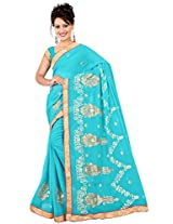 HSFS FAUX GEORGETTE EMBROIDERED SAREE