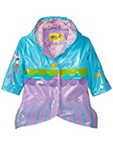 Kidorable Little Girls' Mermaid Polyurethane Raincoat, Blue, 2T