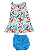 Ssmitn Baby Wear Polka Dot Printed Blue Frock With Bloomer For Girls