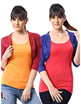 ESPRESSO WOMEN PACK OF 2 SHRUGS -RED / ROYAL-XL
