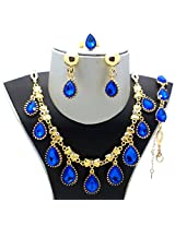 Gold Plated Austrian Diamonds Blue Waterdrop Jewellery set by Beora