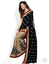 Rajshri Brocade & Georgette Saree(SKU7001_Cream - Black)