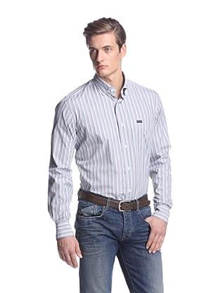 Façonnable Men's Classic Micro Stripe Shirt (Green)