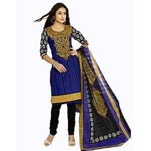 Salwar Studio Blue & Black Cotton unstitched churidar kameez with dupatta AR-1102