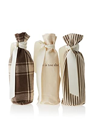 French Laundry Set of 3 Wine Bags, Brown