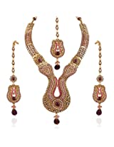 Variation Purple & Pink Stone Studded Wedding Necklace Set [Jewellery]