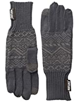 Muk Luks Men's Fine Gauge Jacquard Glove, Grey, One Size