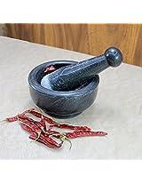 "Stonkraft 5"" Wide Black Natural Stone Mortar and Pestle Set as Spice, Medicine Grinder Masher - Okhli And Musal"