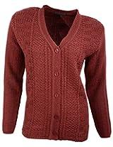Casanova Women's Long Sleeve Cardigans (5007, Maroon, L)