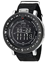 "Vestal Men's GDEDP07 ""The Guide"" Black Stainless Steel Digital Watch with Black Canvas Band"