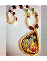 Pearl & Bead Necklace With Miniature Painting