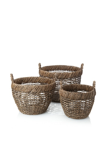 Wald Imports Set of 3 Round Open-Weave Seagrass Baskets (Espresso)