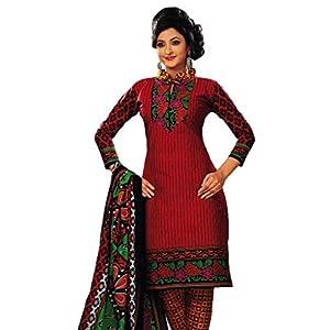 Salwar Studio Red & Mustard Unstitched Churidar Kameez