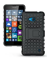 JKase DIABLO Series Tough Rugged Dual Layer Protection Case Cover with Build in Stand for Microsoft Lumia 640 (Black)