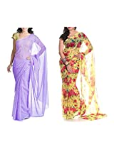 MemSahiba Women Semi-Chiffon Saree set of 2 (MS-1047-652)
