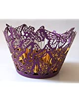 ShopAParty - Purple Butterfly Laser Cut Cupcake Wrappers