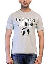 THESMO Unisex Round Neck Cotton T-Shirt, Grey, M