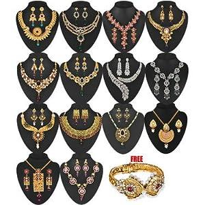 Parasmani 1 Gram Gold Plated 14 Jewellery Set