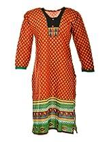 2Dots Women's Cotton Regular Fit Kurti (Multicolour, 40 Inches)