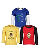 Goodway Pack of 3 Boys Full Sleeve Colour T-Shirts Did You Know Theme-2-7-8Years
