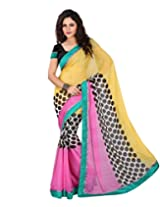 Lookslady Printed Yellow Chiffon Women Sarees