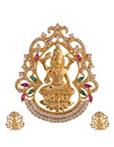 Ganapathy Gems 1 Gram Gold Plated Lakshmi Pendant Set With Ruby And Green Cz Stones (8405)