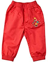 Infant Girls Trouser With Embroidery, Pink (0-6 Months)