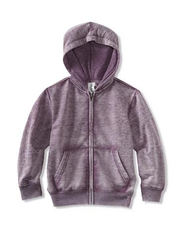 Colorfast Apparel Boy's Burnout Zip Hoodie (Plum)