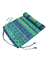 Shalinindia Yogamat For Women And Girls Cotton Printed Reversible Cushioned,YMT02-1423,Blue,70X30 Inch